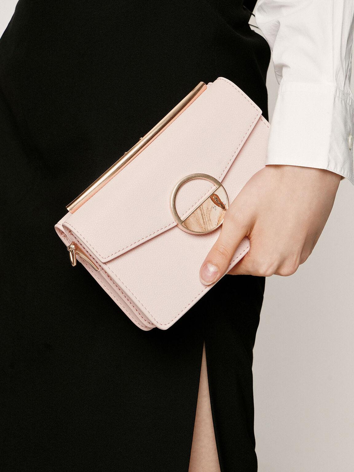 Stone Embellished-Buckle Shoulder Bag, Light Pink, hi-res