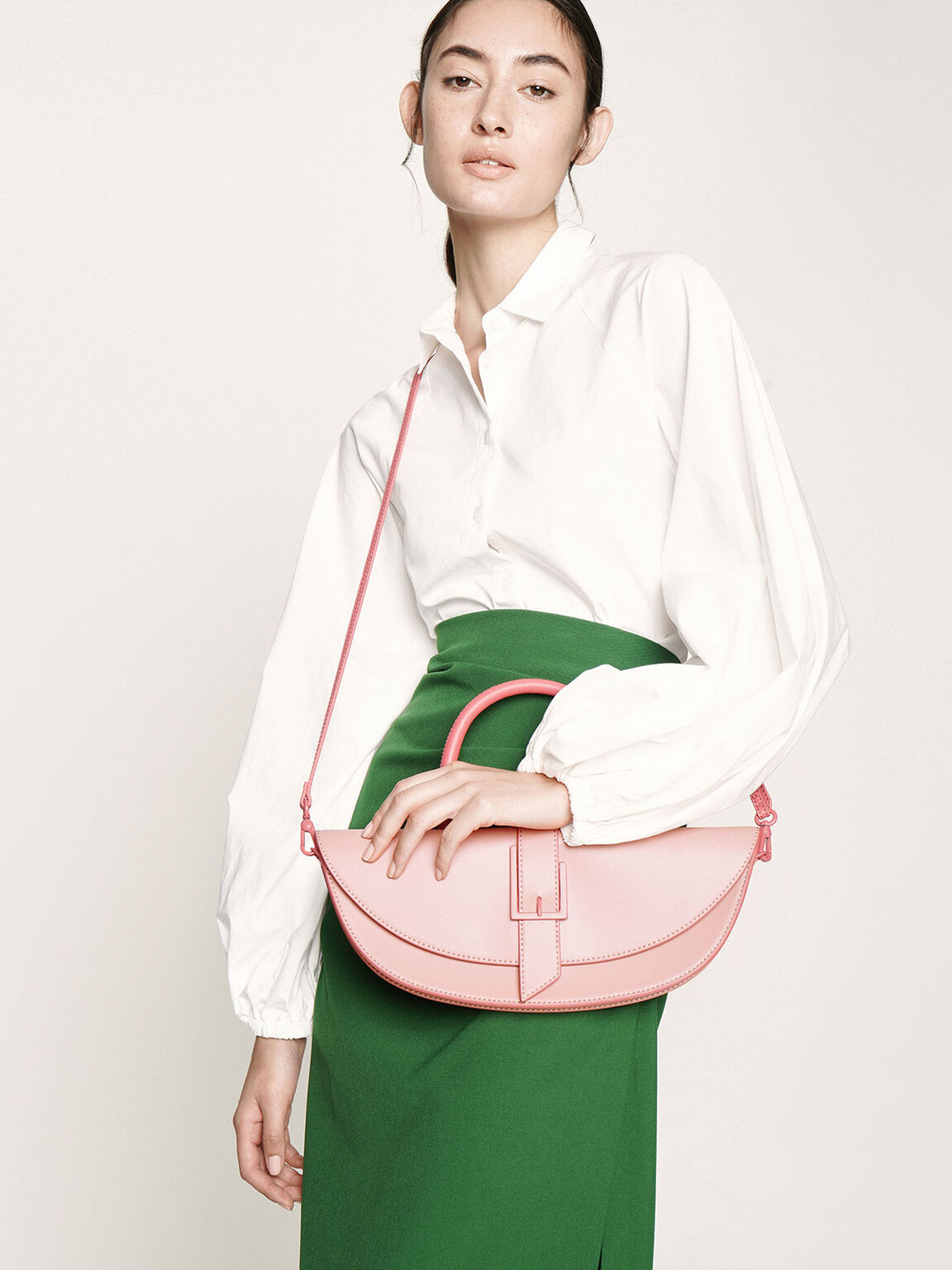 Elongated Saddle Bag, Pink, hi-res