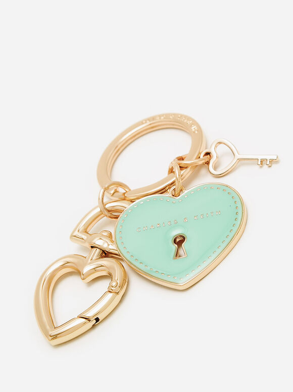 Heart Lock Keychain, Turquoise, hi-res