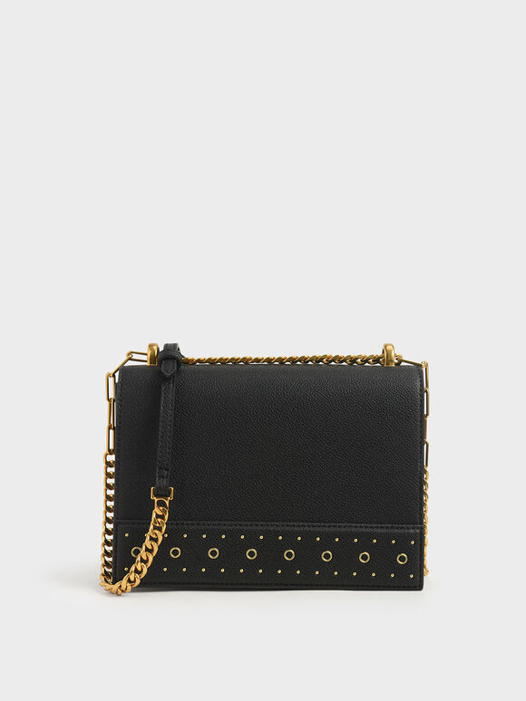 Eyelet-Embellished Crossbody Bag, Black, hi-res