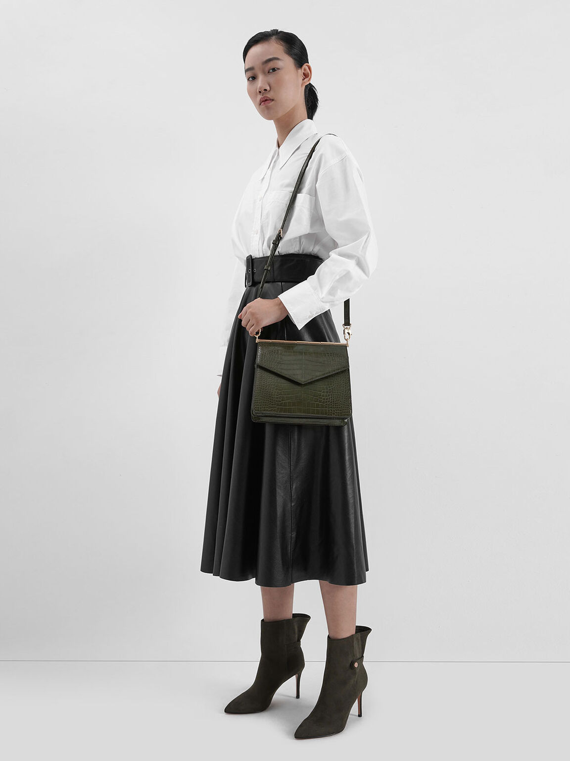 Croc-Effect Angular Crossbody Bag, Olive, hi-res