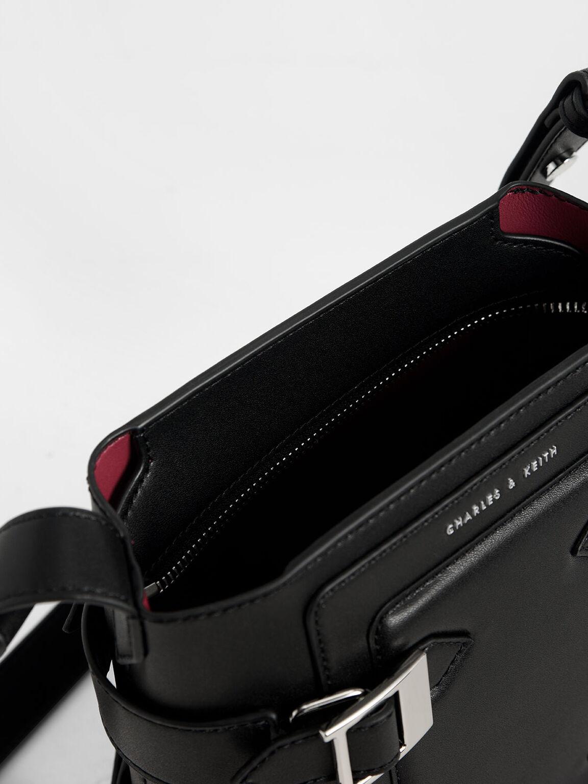 Buckle Bucket Bag, Black, hi-res