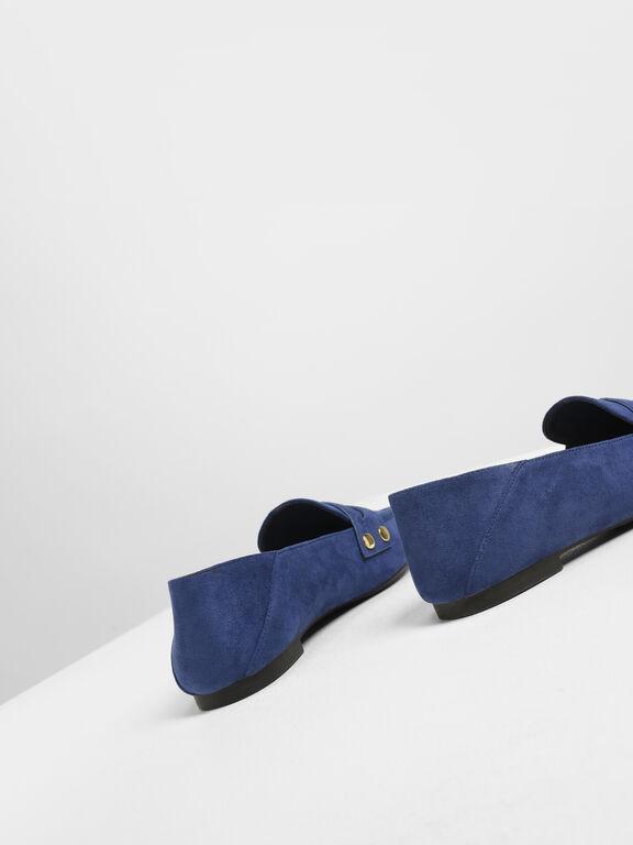 Stud Detail Step Back Penny Loafers, Dark Blue