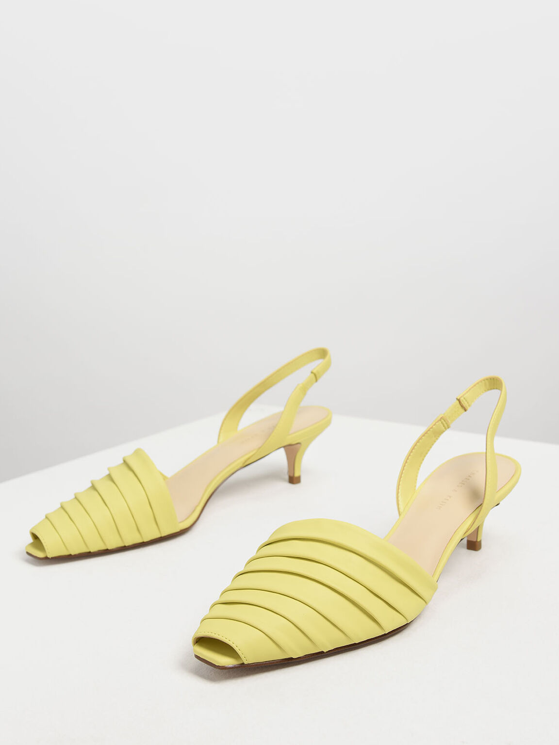 Ruched Peep Toe Slingback Heels, Yellow, hi-res