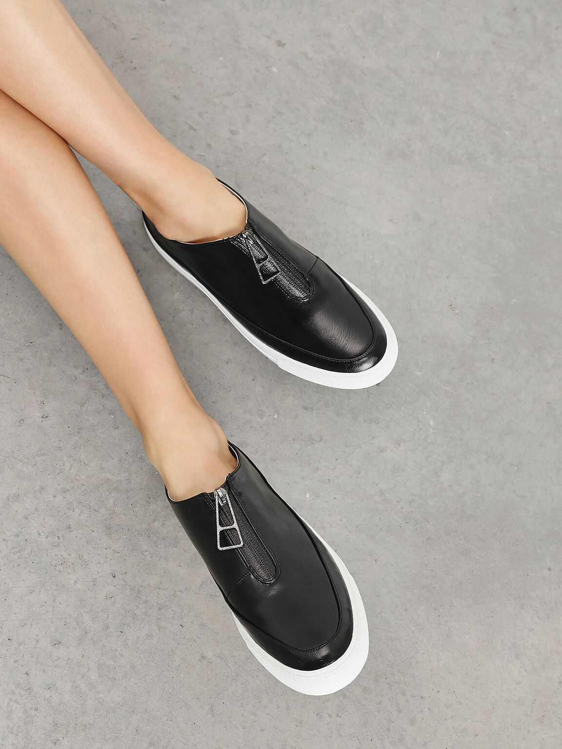 Zipper Detail Sneakers, Black, hi-res