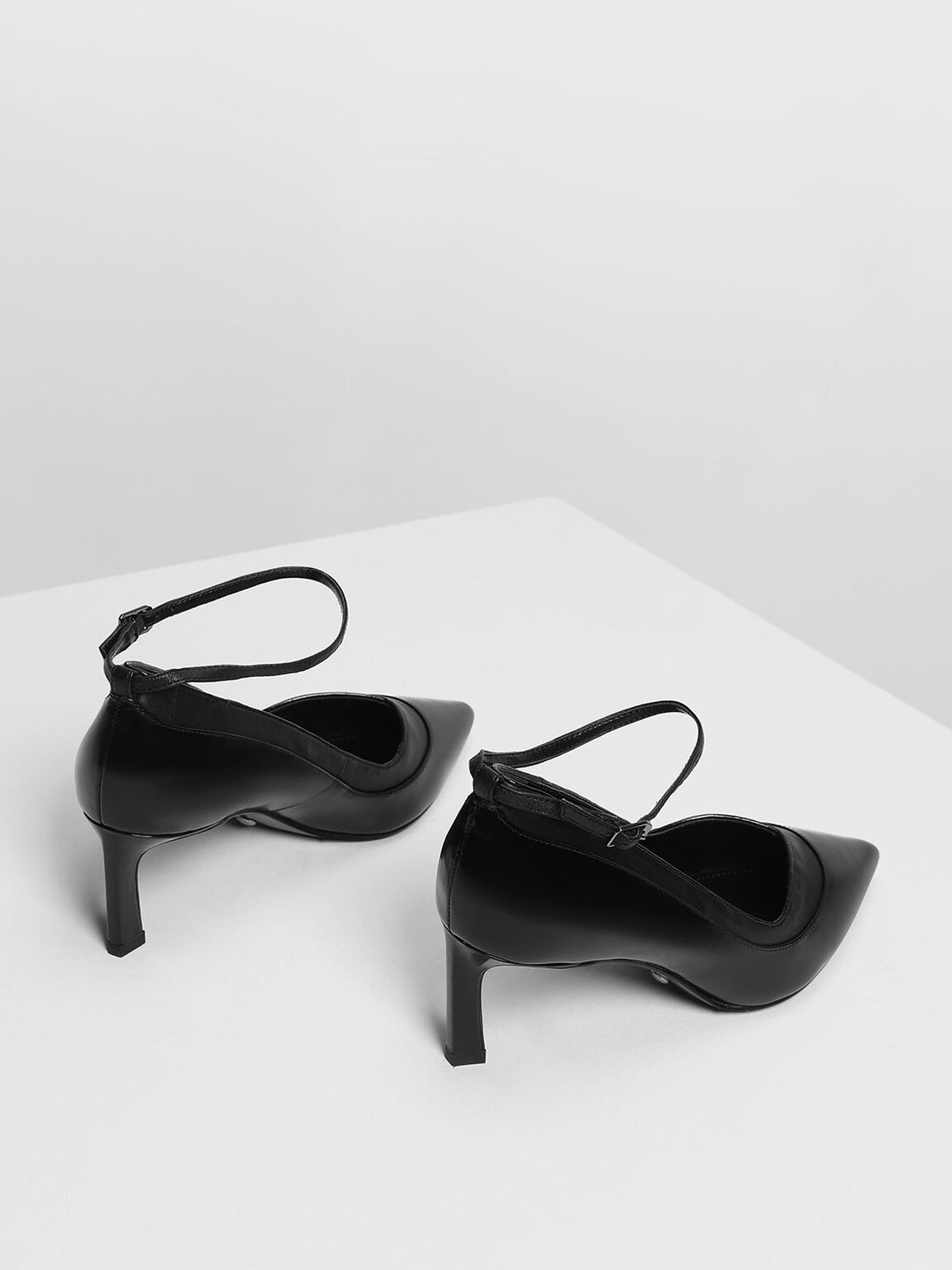 Contrast Panelling Leather Pumps, Black, hi-res
