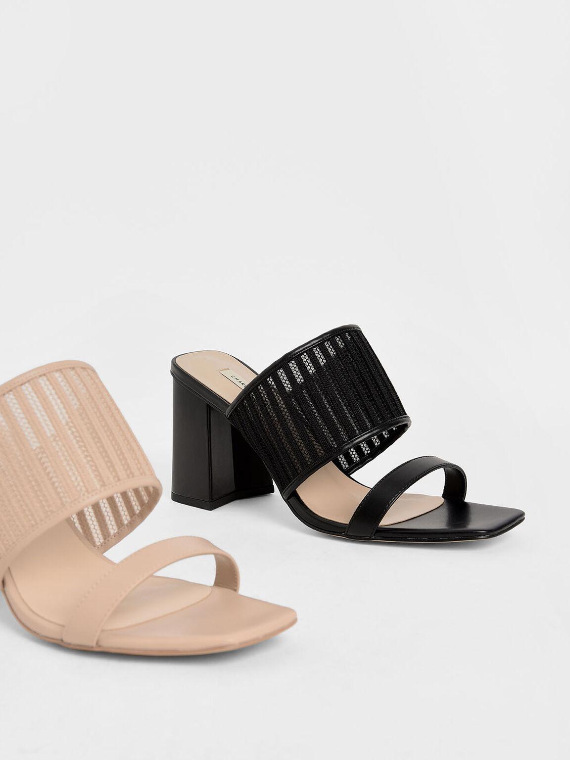 雙帶粗跟拖鞋, 黑色, hi-res
