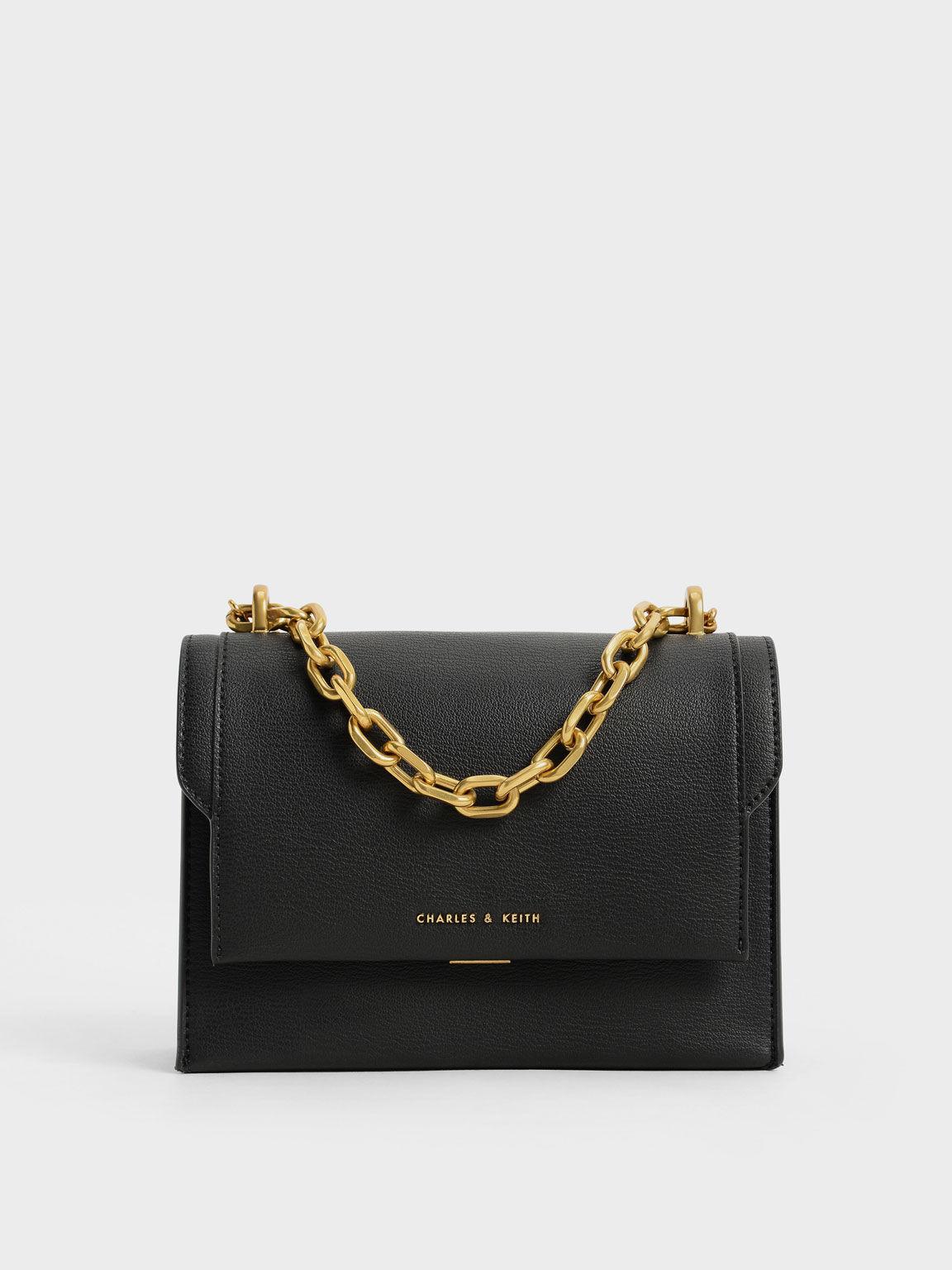 Front Flap Chain Handle Crossbody Bag, Black, hi-res