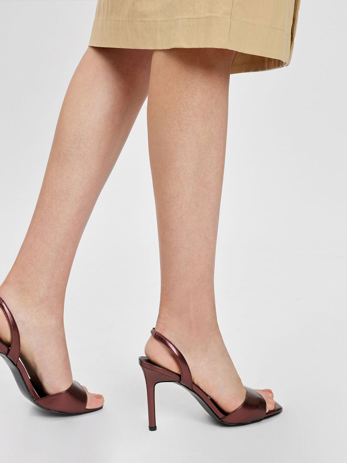 Square Toe Slingback Heels, Dark Brown, hi-res
