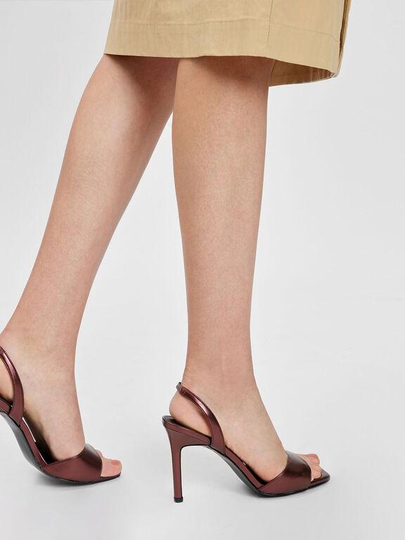 Square Toe Slingback Stiletto, Dark Brown