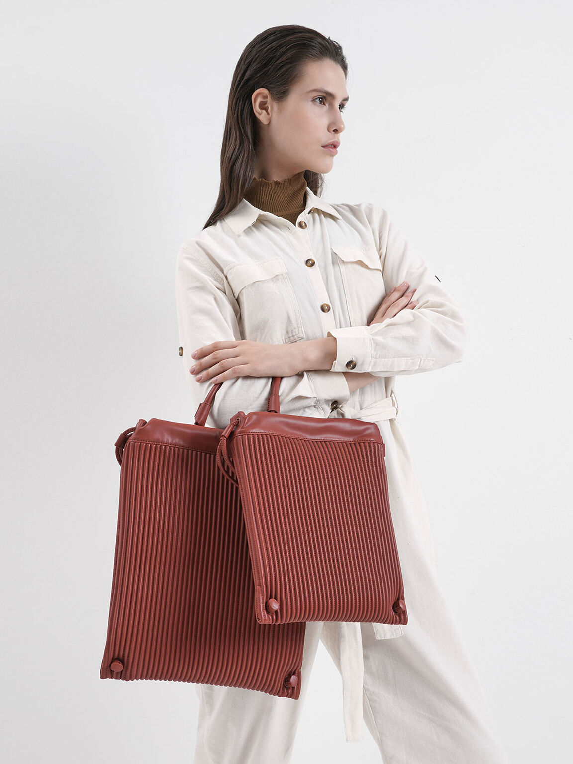 Large Textured Drawstring Backpack, Clay, hi-res