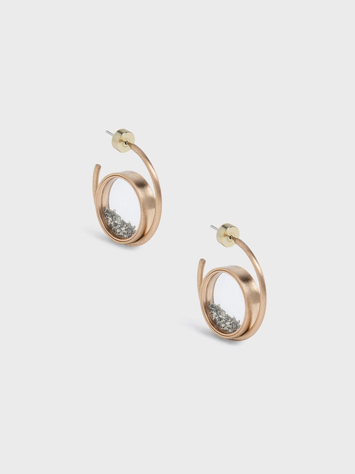 Silver Sparkling Sandstone Floating Locket Hoop Earrings, Gold, hi-res