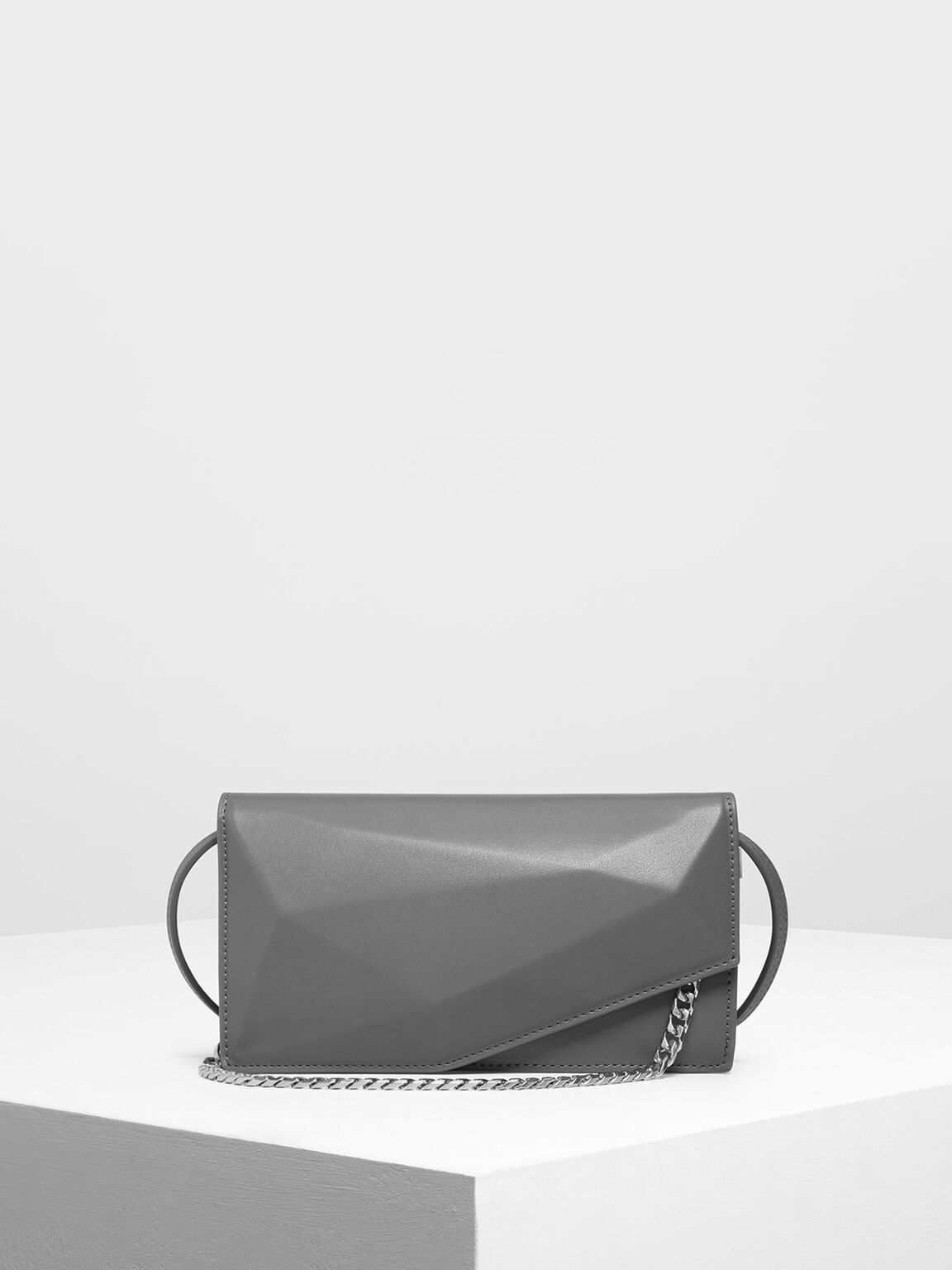Geometric Chain Link Belt Bag, Grey, hi-res