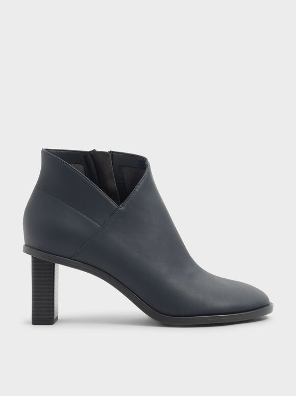 Stitch Trim Ankle Boots, Grey, hi-res