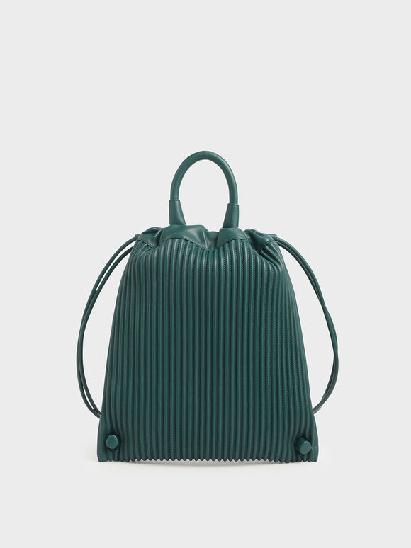 Neoprene Drawstring Backpack, Dark Green, hi-res