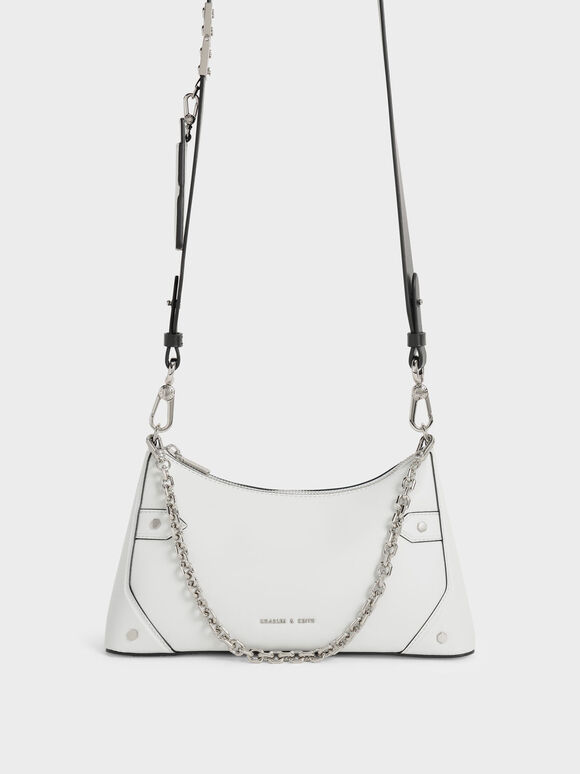 Chain Handle Crossbody Bag, White, hi-res