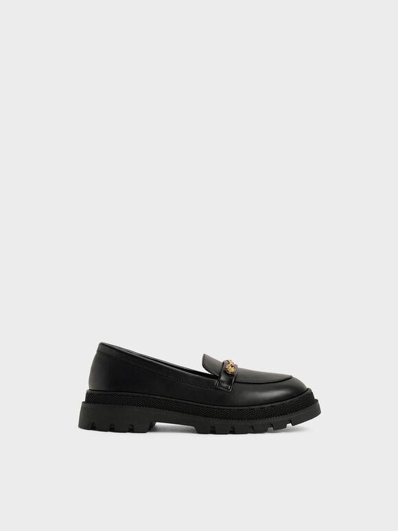 兒童厚底樂福鞋, 黑色, hi-res