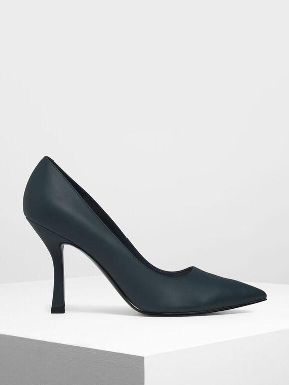 Curved Stiletto Heel Pumps, Teal, hi-res