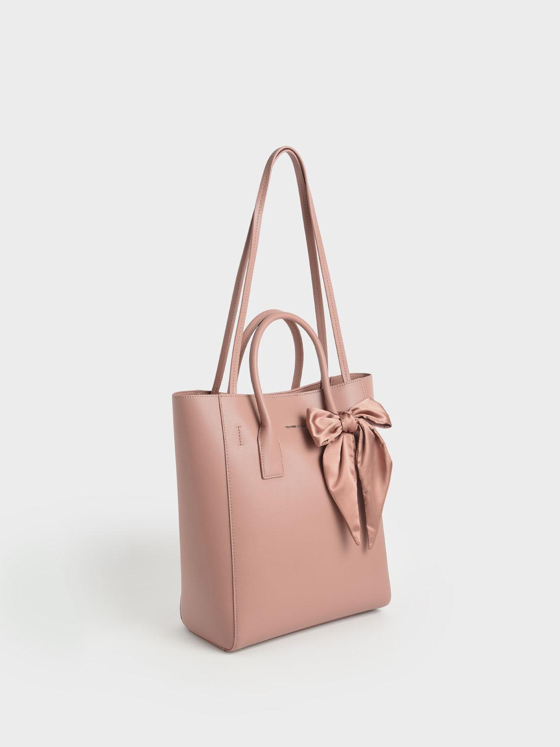 Bow Tote Bag, Blush, hi-res