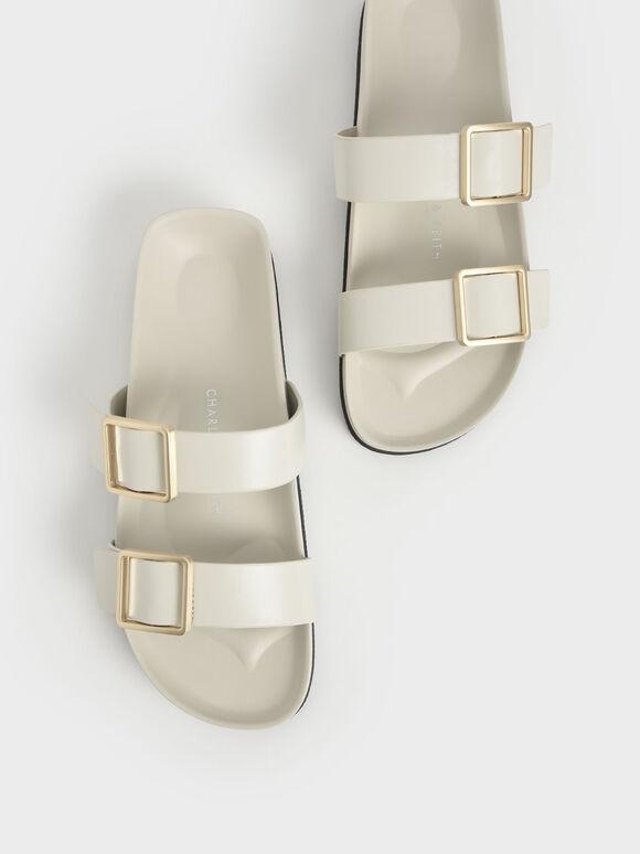 金屬釦雙帶拖鞋, 石灰白, hi-res
