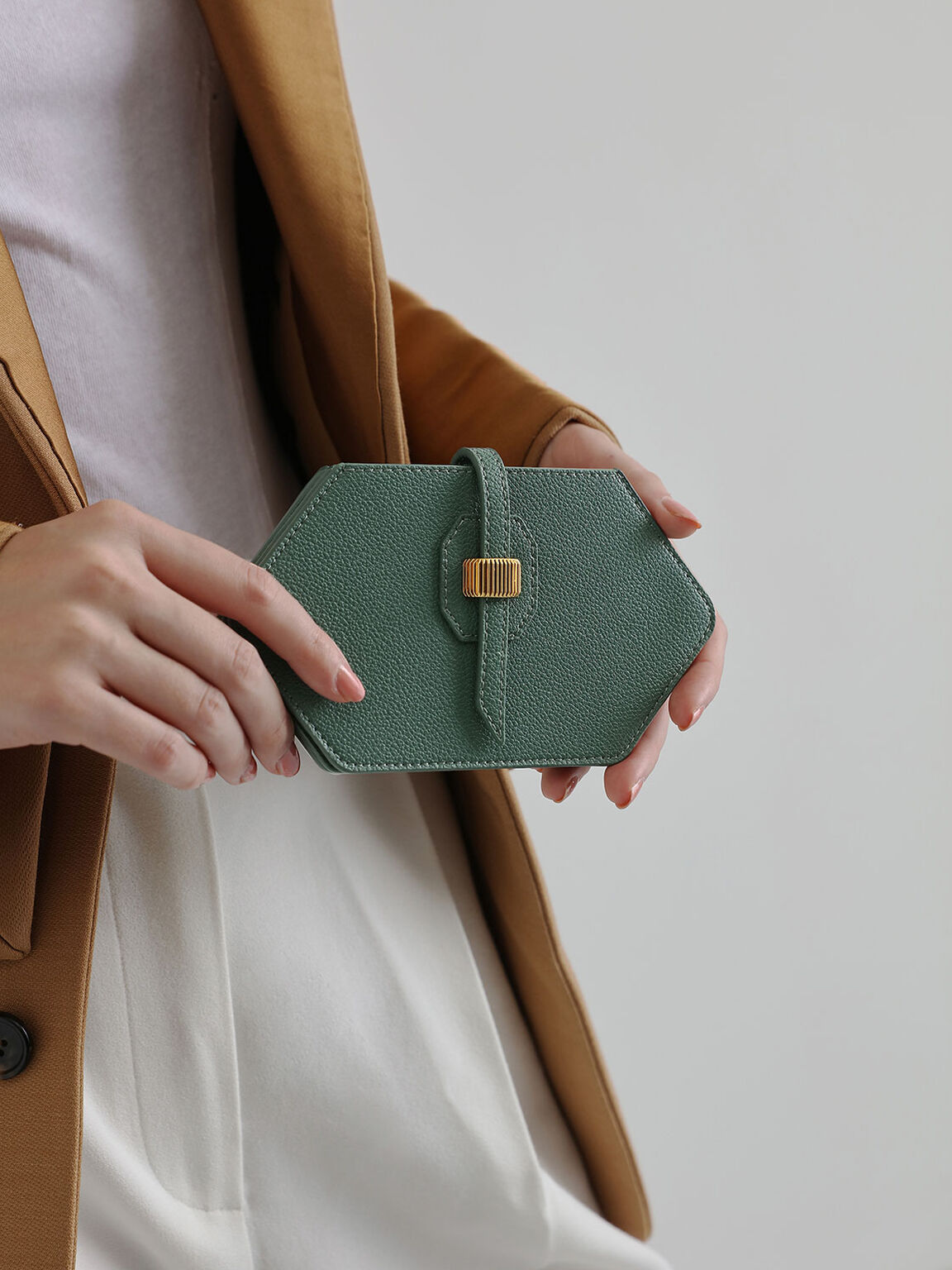 Hexagon Card Holder, Green, hi-res