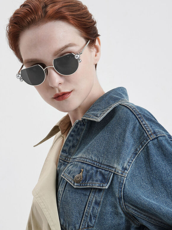 Swarovski® Crystal Pearl Embellished Cut-Off Round Sunglasses, Silver, hi-res