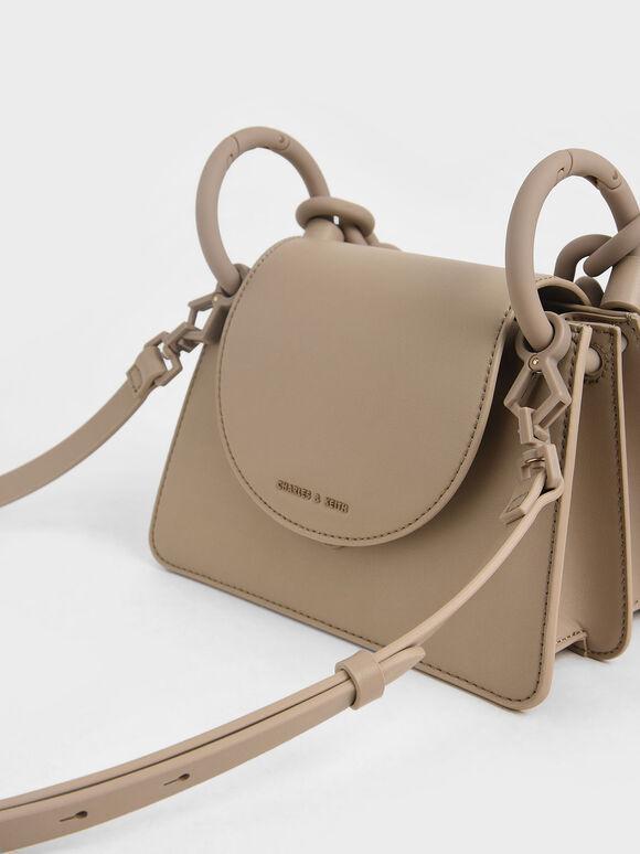 Circular Flap Trapeze Bag, Taupe, hi-res