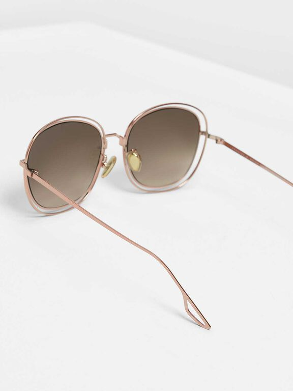 Double Wire Frame Shades, Rose Gold, hi-res