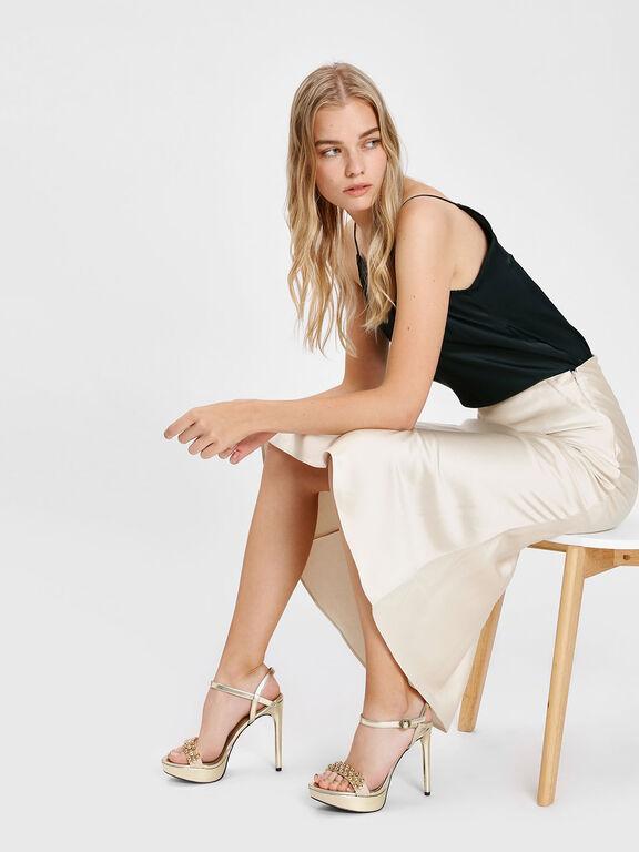 Embellished Platform Sandals, Gold, hi-res