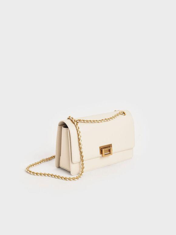 鍊條金釦肩背包, 奶油色, hi-res