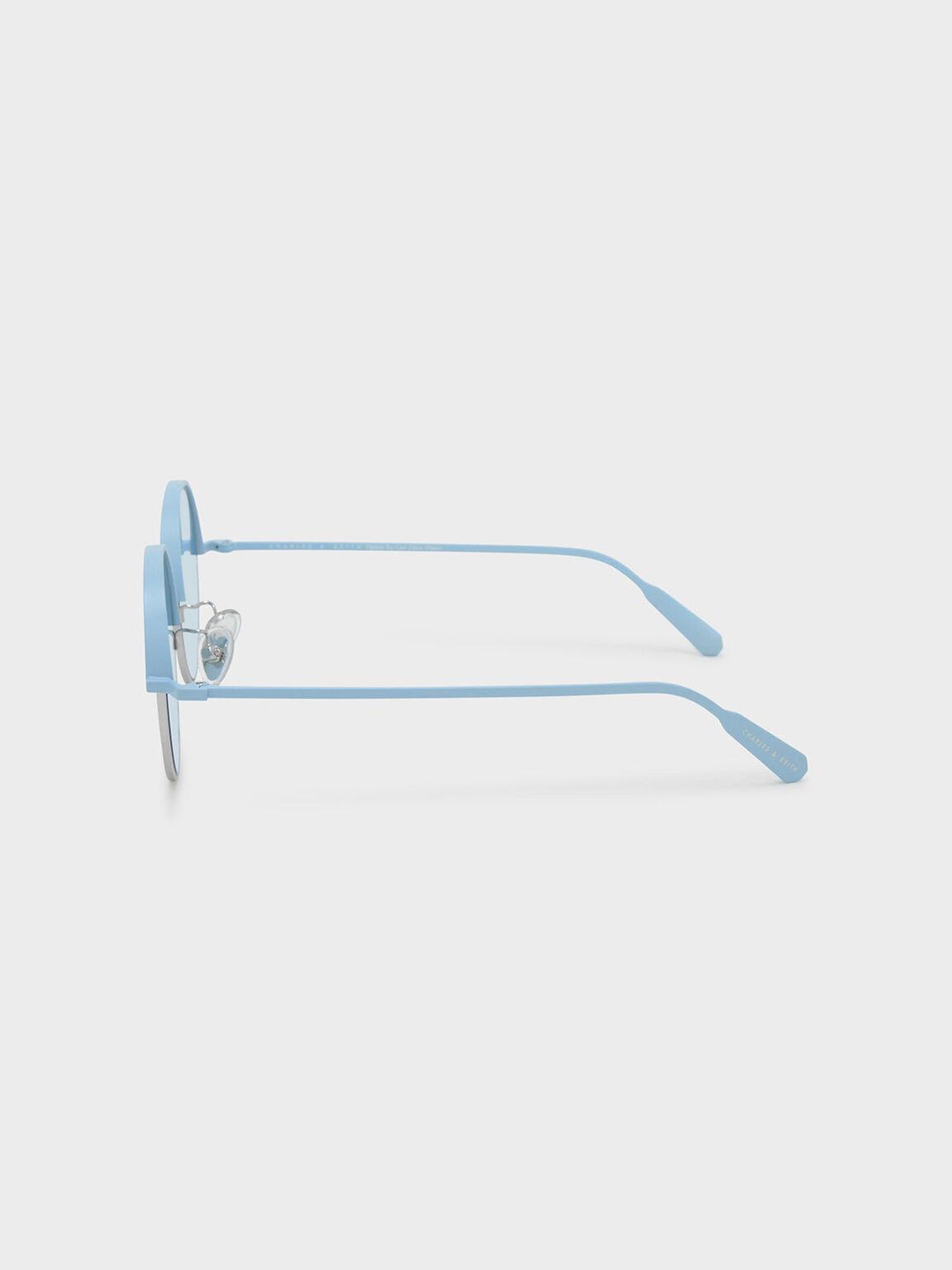 Metal Half Frame Sunglasses, Blue, hi-res