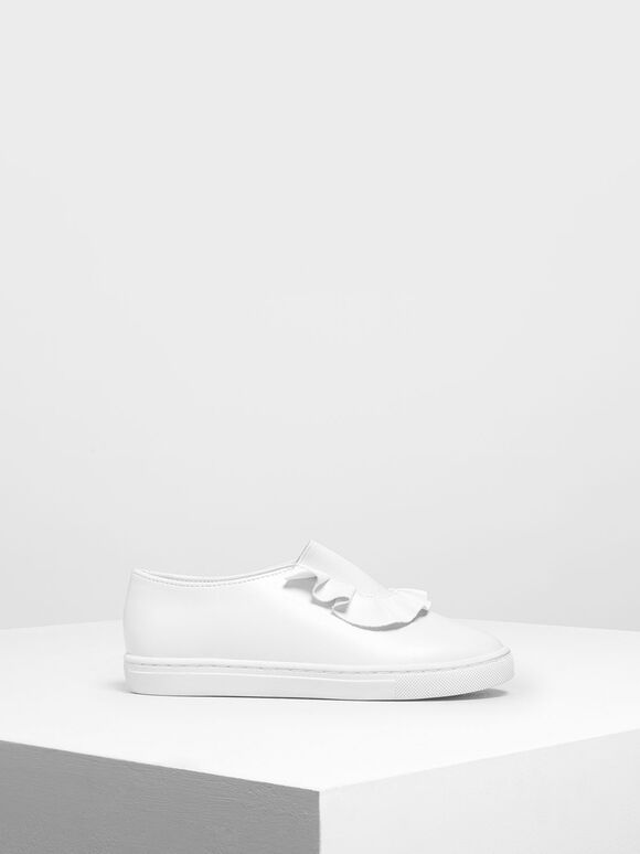 Girls' Frill Trim Slip-On Sneakers, White, hi-res