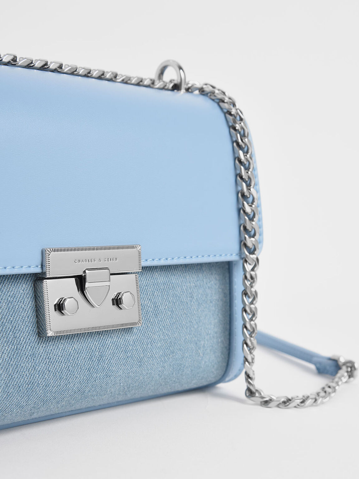 Textured Boxy Chain Strap Bag, Denim Blue, hi-res