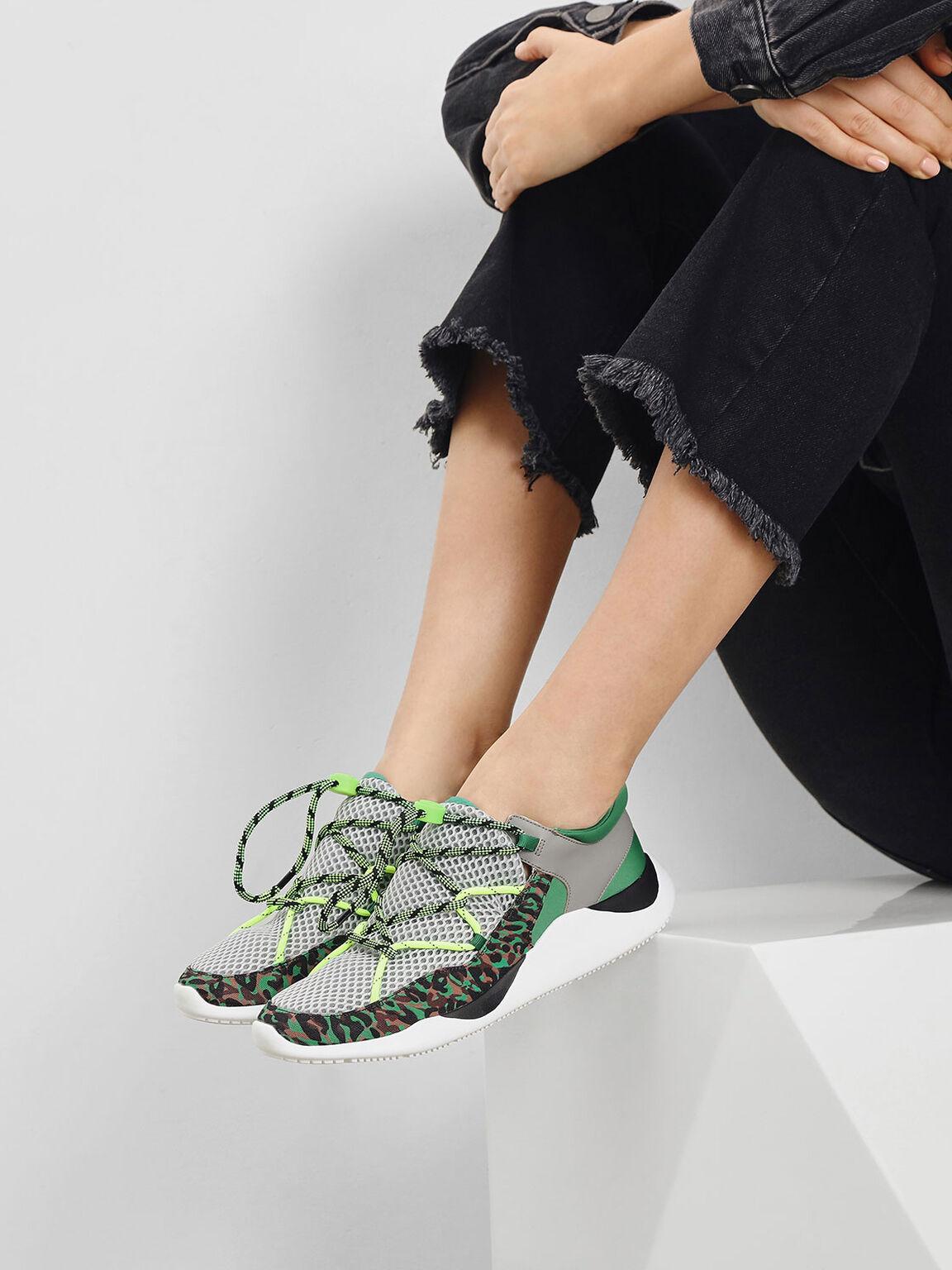 Drawstring Mesh Sneakers, Green, hi-res