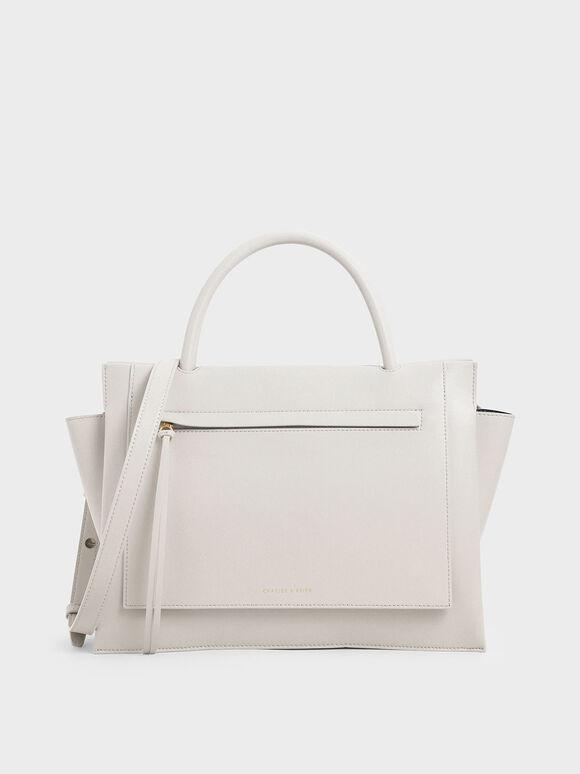 Large Trapeze Handbag, Cream, hi-res