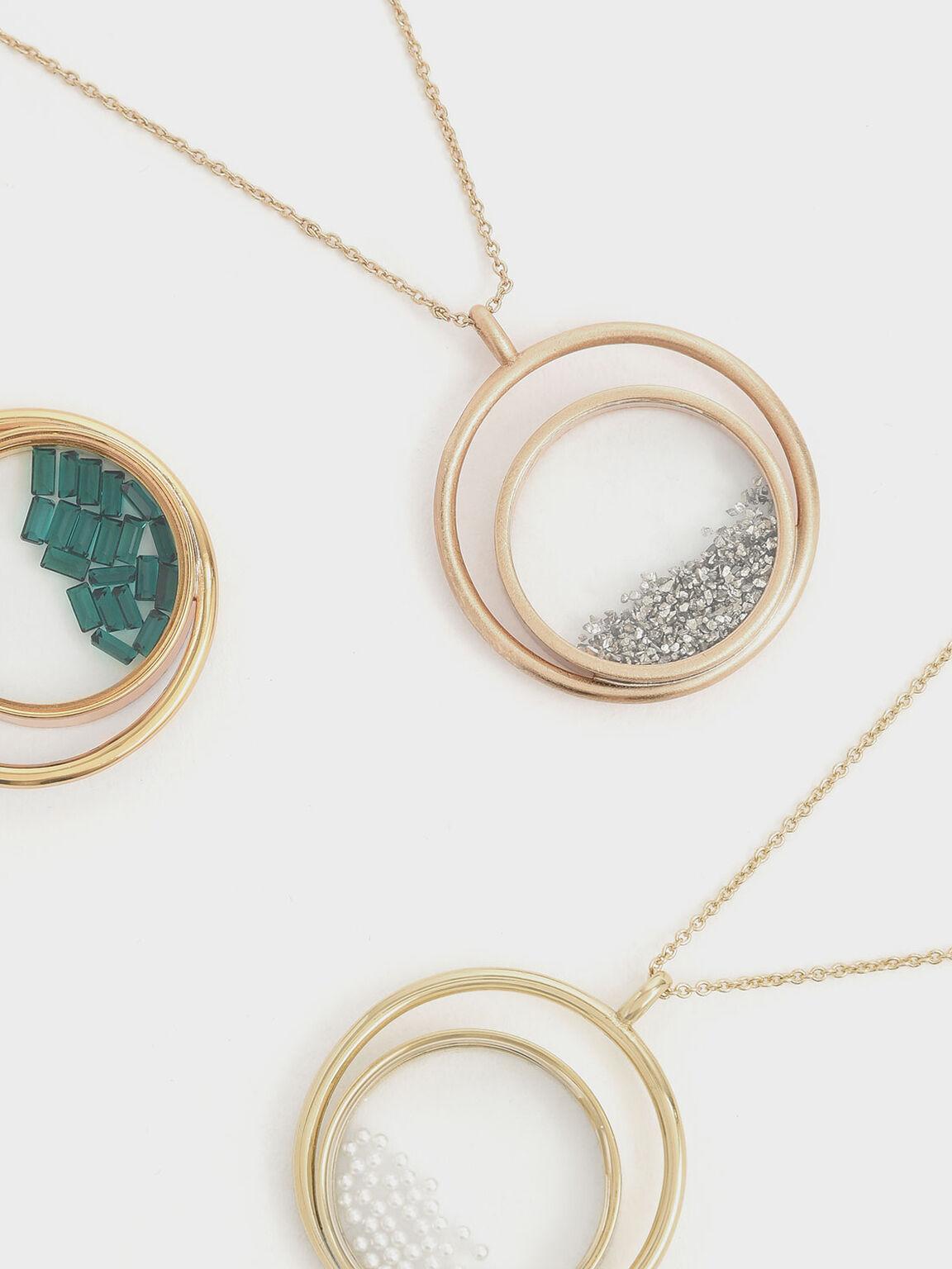 銀砂石寶盒項鍊, 金色, hi-res