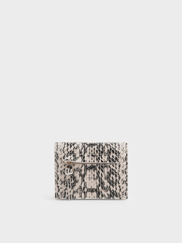 Snake Print Front Zip Card Holder, Cream, hi-res