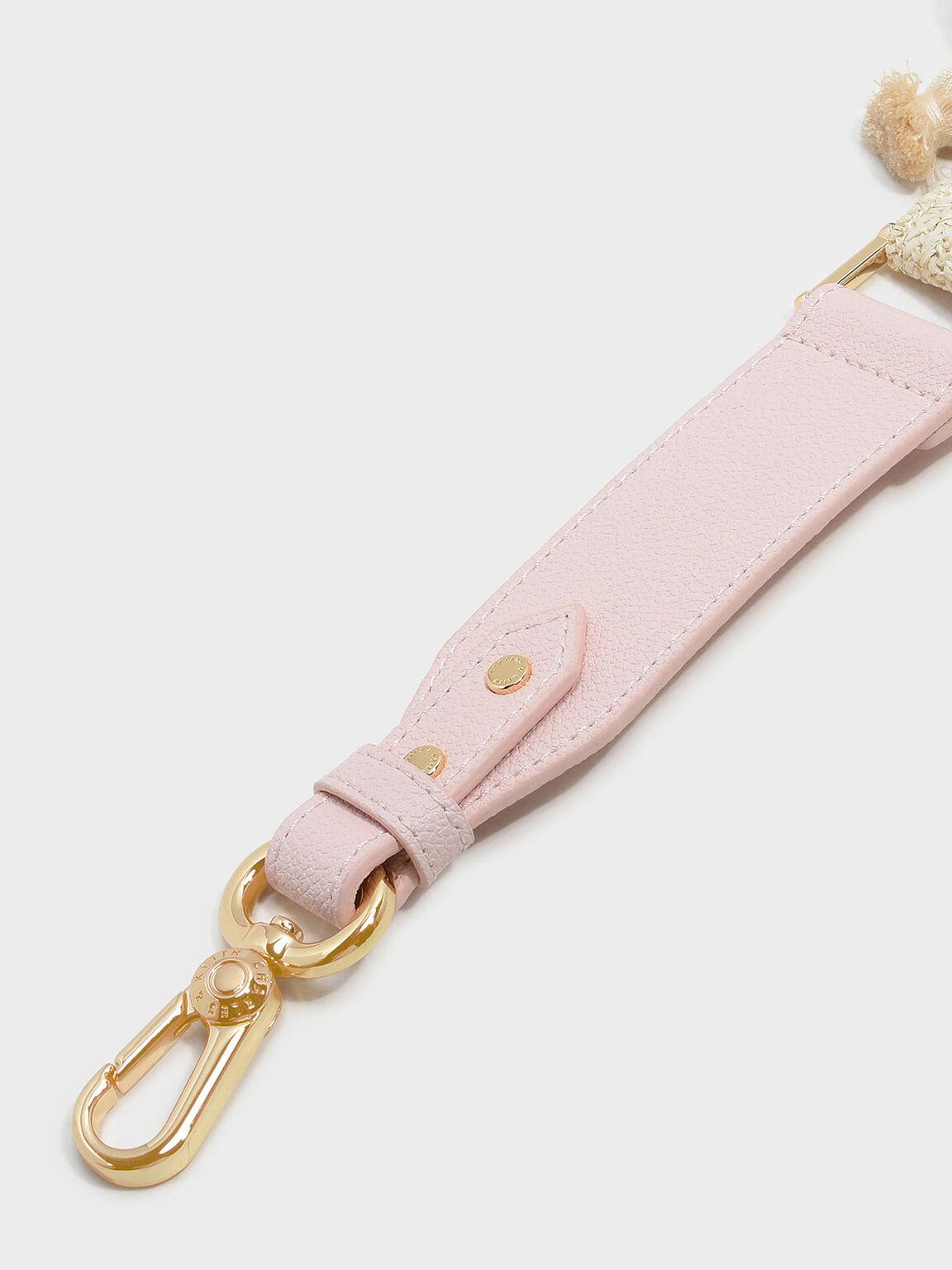 Pom Pom Bag Strap, Pink, hi-res