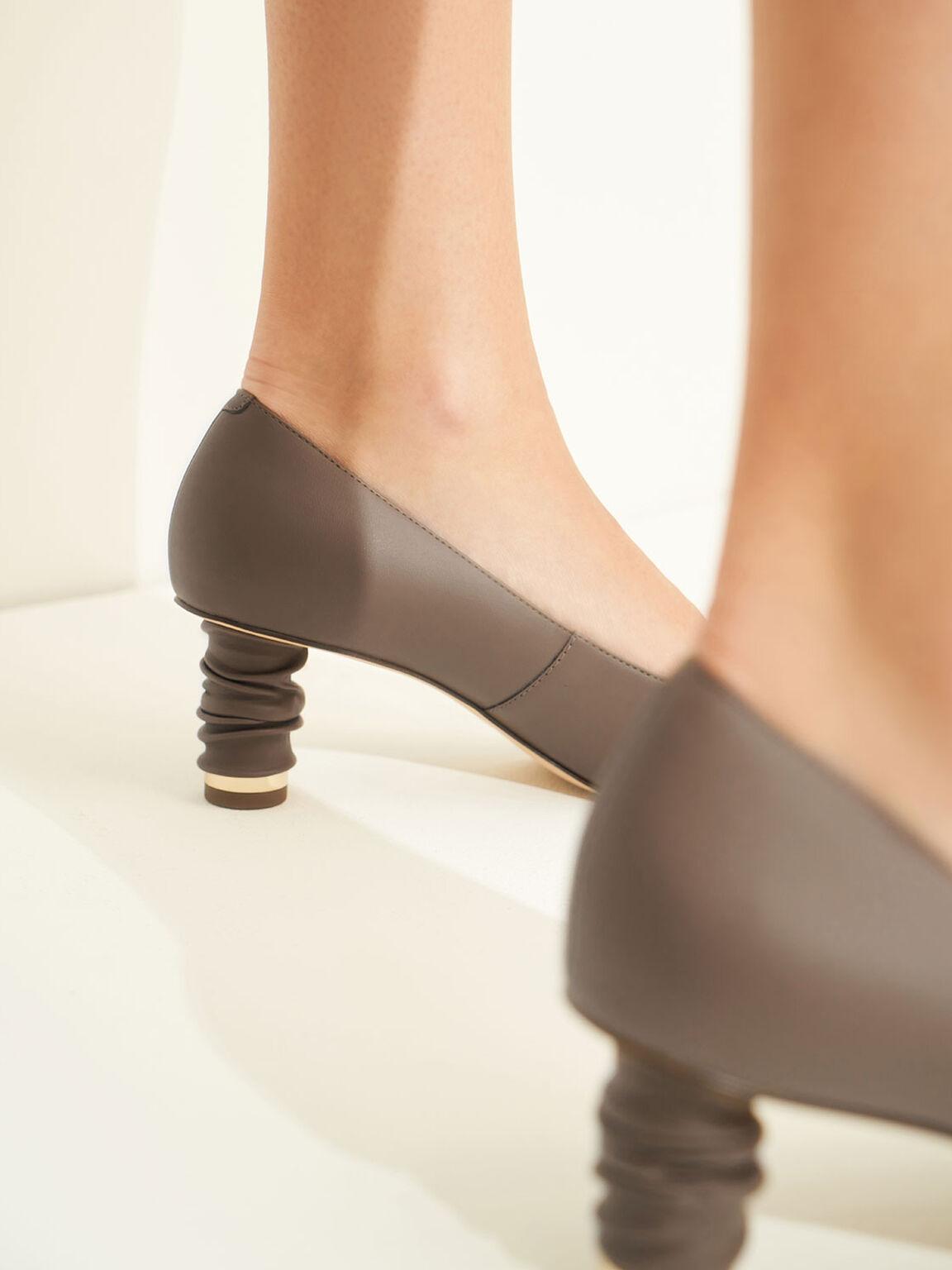 尖頭皺褶跟鞋, 深咖啡, hi-res