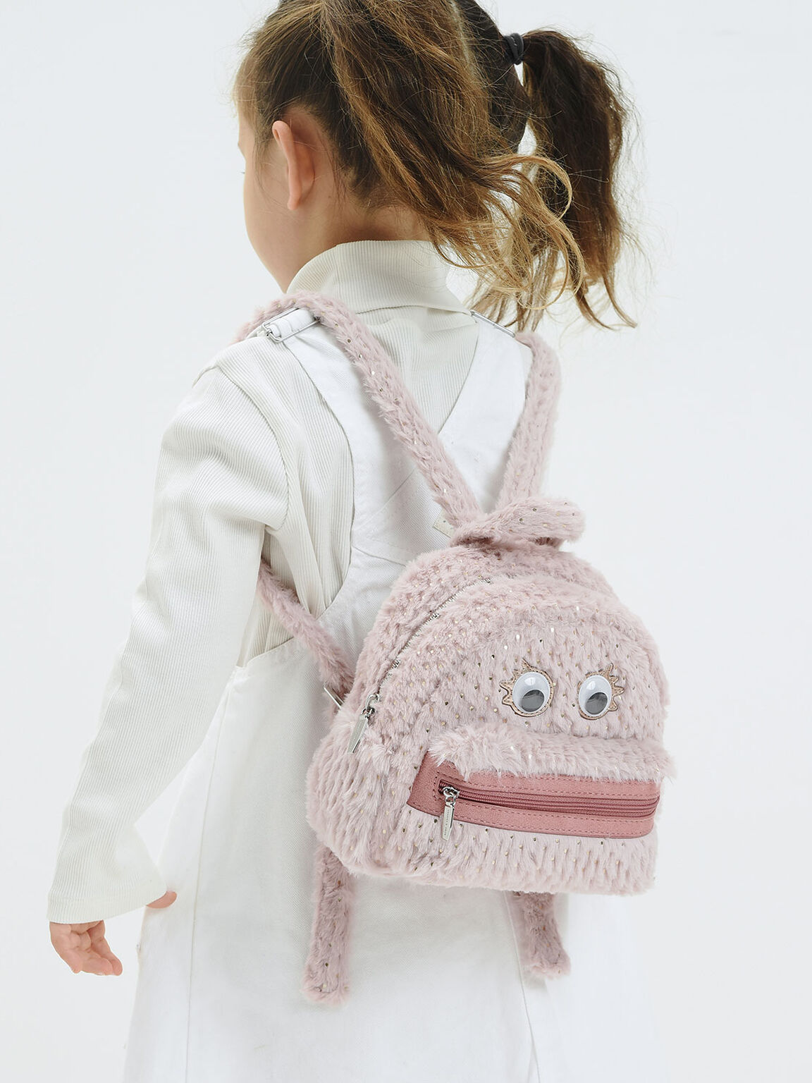 Girls' Furry Character Backpack, Light Pink, hi-res
