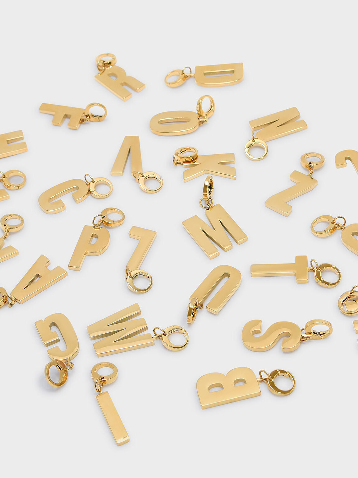 Gold Alphabet Keychain, Gold, hi-res