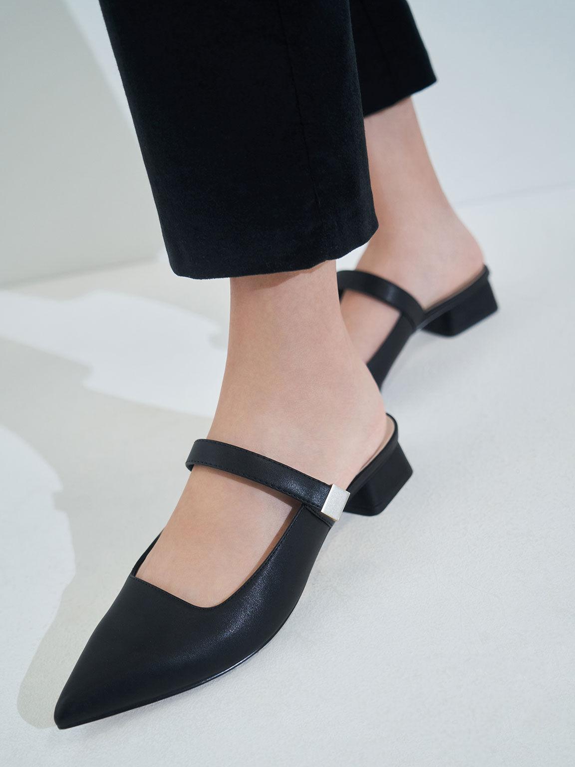 金釦穆勒低跟鞋, 黑色, hi-res