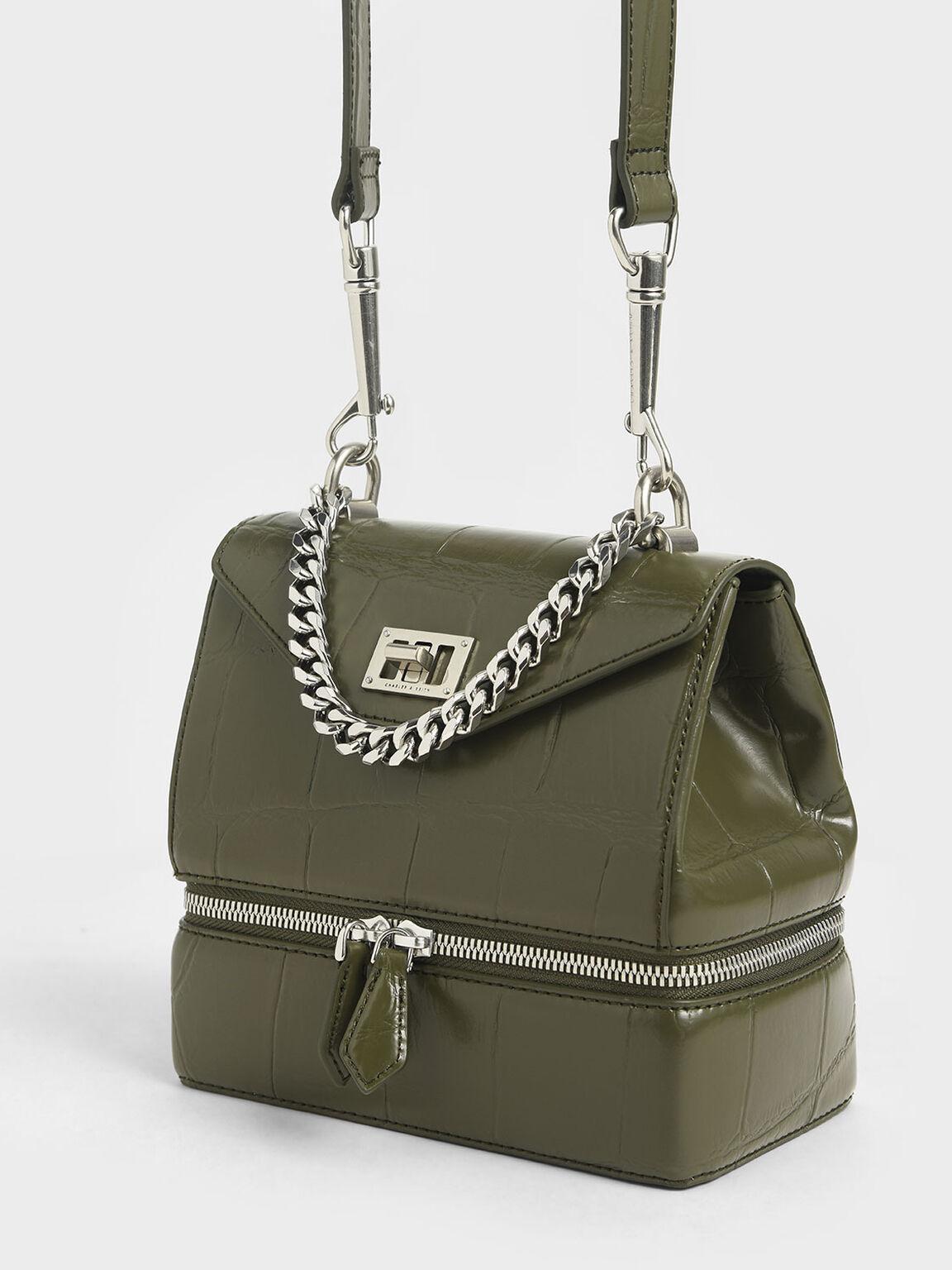 Croc-Effect Two-Way Zip Handbag, Olive, hi-res