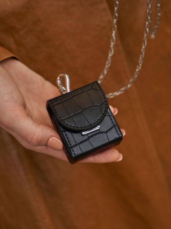 Croc-Effect AirPods Case Necklace, Black, hi-res