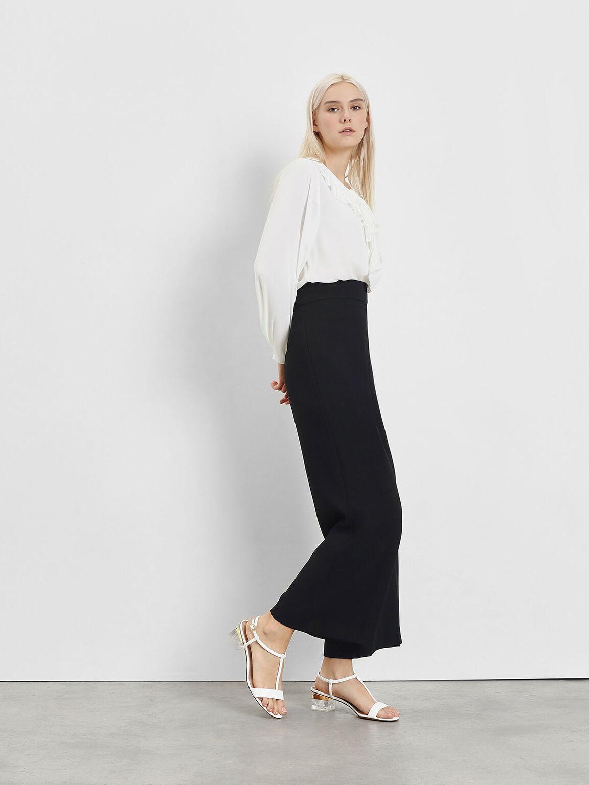 T-Bar Lucite Heel Sandals, White, hi-res