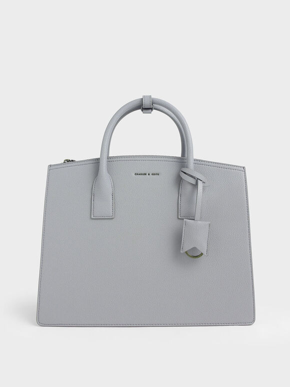 Large Structured Tote Bag, Grey, hi-res