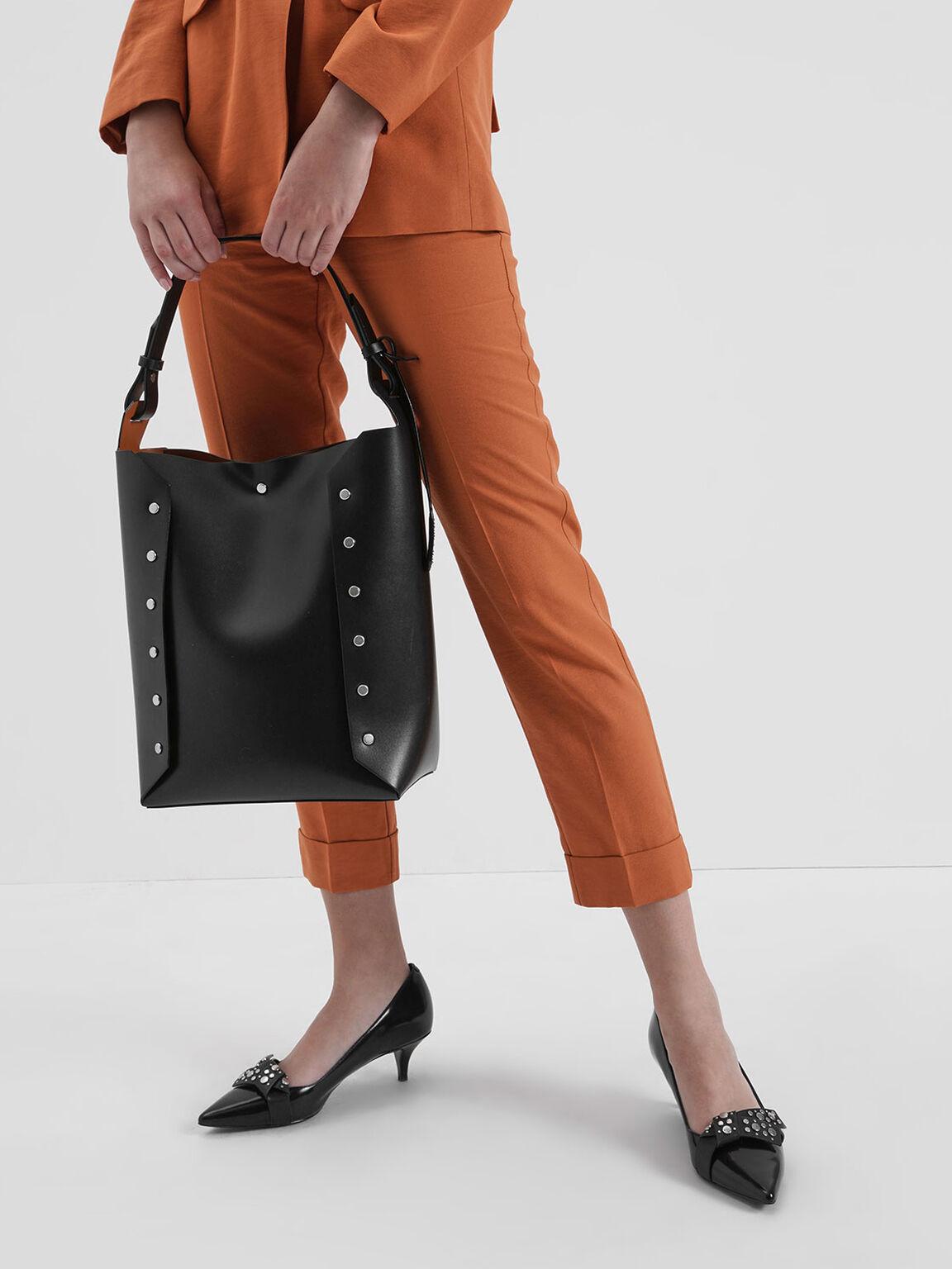 Leather Embellished Pumps, Black, hi-res