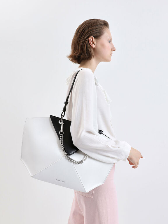 Two-Tone Thin Chain Handle Sculptural Tote, White