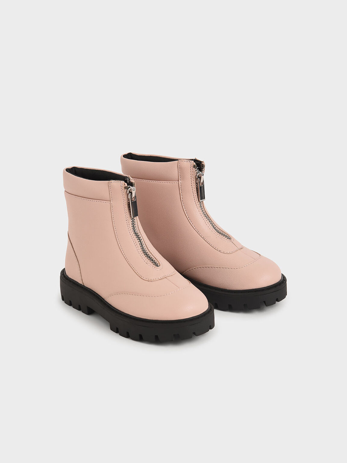 Girl's Front Zip Ankle Boots, Light Pink, hi-res