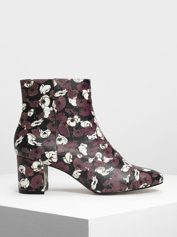 Printed Zipper Ankle Boots, Purple, hi-res